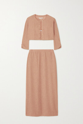 Reformation + Net Sustain Janice Knitted Cardigan, Camisole And Midi Skirt Set - Camel