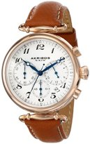 Akribos XXIV Women's AK630TN Rose-Tone Stainless Steel and Brown Leather Strap Watch