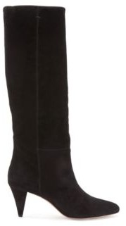 HUGO BOSS Knee-high boots in Italian suede with cone heel