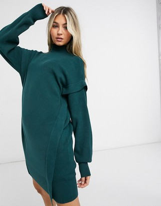 Noisy May knitted jumper dress with roll neck in dark green