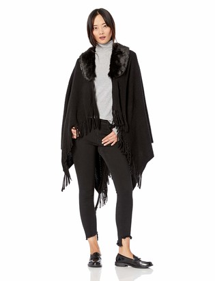 Collection Xiix Ltd. Collection XIIX Women's Faux Fur Collar Raschel Knit Shawl