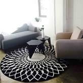 Edge To Carpet Rug Scandinavian Fashion Black And White Circular Carpet Living Room Coffee Table Carpet Bedroom Study Carpet ( Color : Black , Size : Diameter 120CM )