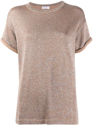 Brunello Cucinelli Metallic-Effect Knitted Top