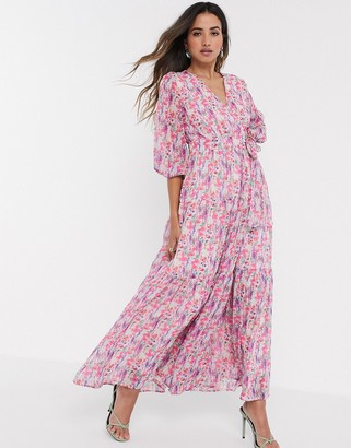 Y.A.S wrap maxi dress with open back in bold floral