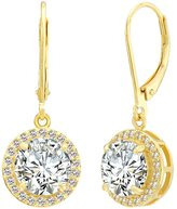 Ever Faith Elegant Round CZ Prong Setting Dangle Wedding Earrings Clear N06045-1