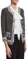 St. John Nita Fringe Tweed 3/4-Sleeve Jacket, Black/White