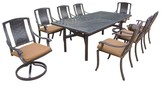Vanguard 9-Piece Aluminum Swivel Rectangular Patio Dining Furniture Set