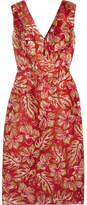 Prada Metallic Floral-jacquard Midi Dress - Red