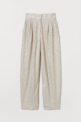 H&M Wide-leg Sequined Pants - Gray