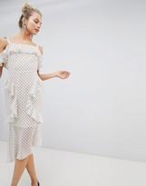 Asos DESIGN Soft Pencil Midi Dress In Ruffle Polka Dot