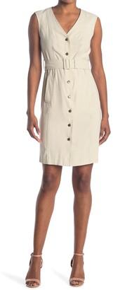 Calvin Klein V-Neck Sleeveless Belted Shirt Dress
