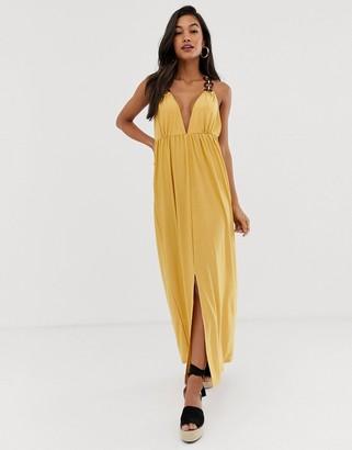 ASOS DESIGN slinky maxi dress with ring detail