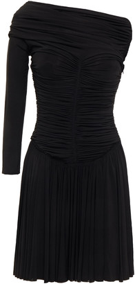 Alexander Wang Off-the-shoulder Ruched Stretch-cady Mini Dress