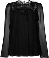 Giambattista Valli crochet lace sheer blouse
