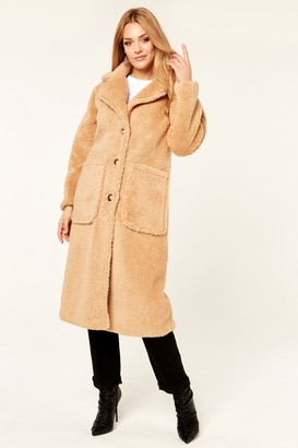 Gini London Camel Longline Teddy Coat