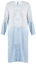 Raquel Allegra Round-neck long-sleeved cotton-gauze dress