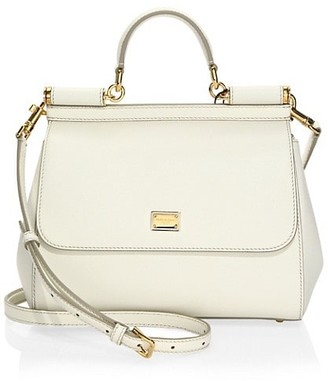 Dolce & Gabbana Large Sicily Leather Top Handle Bag