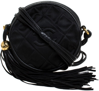 Chanel Black Quilted Satin and Leather CC Fringe Round Crossbody Bag