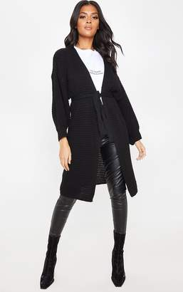 PrettyLittleThing Black Knitted Longline Belted Cardigan