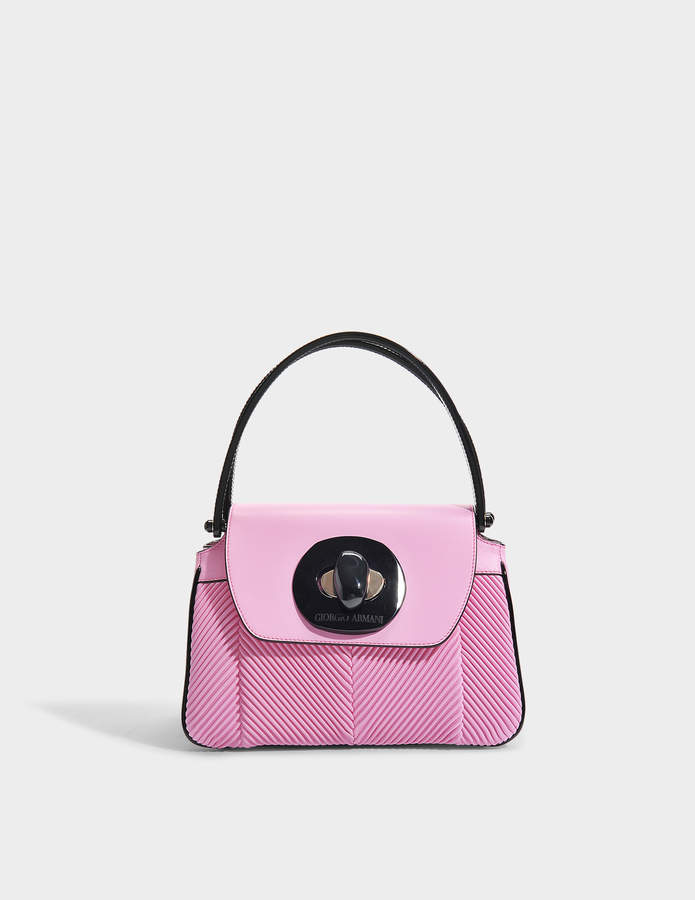 Giorgio Armani Musa Bag in Pink Nappa Pleated Leather