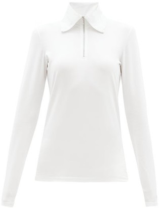 Jil Sander High Zip-collar Cotton-blend Long-sleeved T-shirt - White