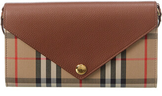 Burberry Vintage Check & Leather Wallet On Chain