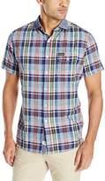 U.S. Polo Assn. Men's Short Sleeve Plaid Poplin Spread Collar Sport Shirt