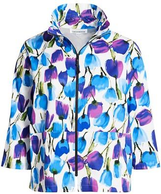 Caroline Rose, Plus Size Blooming Colors Stretch Cotton Zip Jacket