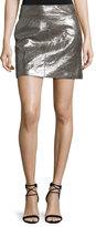 Halston Metallic Leather Mini Skirt