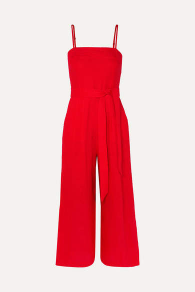 J.Crew Marseille Belted Linen Jumpsuit - Red