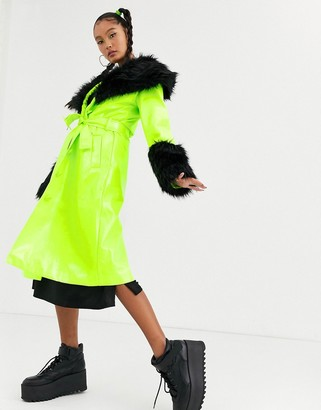 Jaded London trench coat with contrast faux fur trims