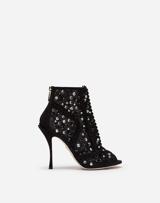 Dolce & Gabbana Ankle Boots In Tulle With Embroidery