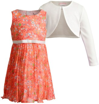 Youngland Toddler Girl Pleated Dress & Textured Shrug Set