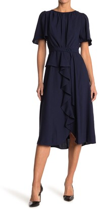 Gabby Skye Flutter Sleeve Ruffle Midi Dress