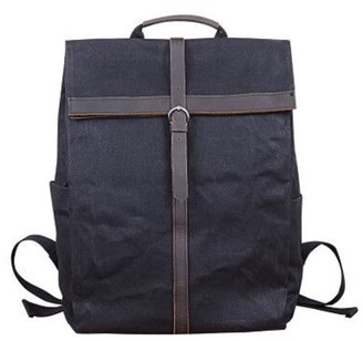 Touri 15'' Fold-Over Waxed Canvas & Leather Backpack In Charcoal Black