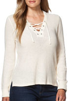 Chaps Plus Lace-Up Linen Cotton Sweater