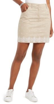 Karen Scott Petite Caraway Stars Embroidered Skort, Created for Macy's