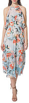 Donna Morgan Printed Halter Ruffle Midi Dress