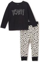 Petit Lem Black 'Yeah!' Tee & Abstract Pants - Toddler