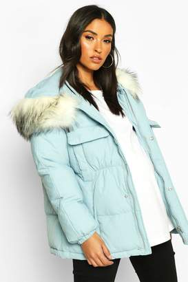 boohoo Maternity Faux Fur Trim Padded Jacket