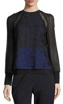 3.1 Phillip Lim Long-Sleeve Colorblock Lace & Chiffon Top, Medium Blue