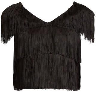 Raey Fringed Cropped Bib Top - Black