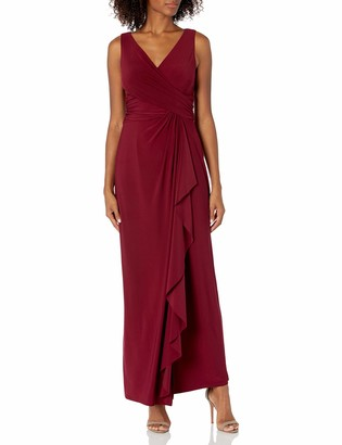 Chaps Women's Sleeveless Shirred Matte Jersey Gown