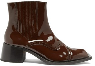 Martine Rose Square-toe Patent-leather Brogue Chelsea Boots - Brown