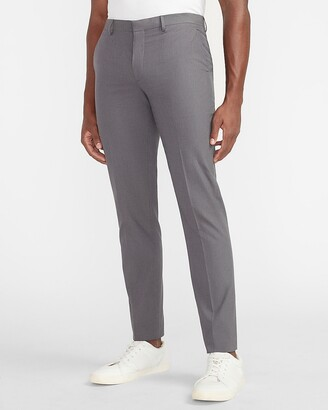 Express Extra Slim Charcoal Textured Cotton-Blend Suit Pant