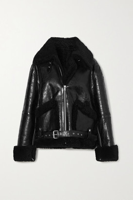 Dries Van Noten Oversized Shearling And Glossed Textured-leather Jacket - Black