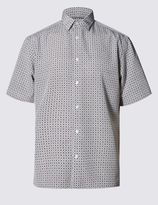 Marks and Spencer Easy Care Soft Touch Short Sleeve Tile Print Shirt