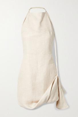 Jacquemus Figuerolles Draped Linen-blend Halterneck Mini Dress - Ecru