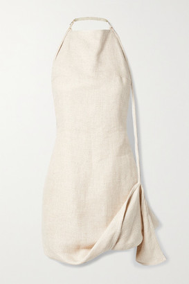Jacquemus Figuerolles Draped Woven Halterneck Mini Dress - Ecru