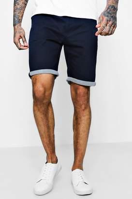 boohoo Chino Shorts With Stripe Turn Up